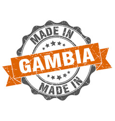made in gambia round seal vector image