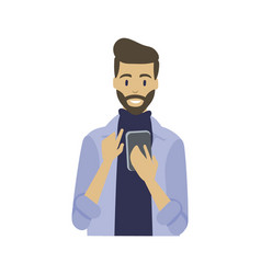 Man with smartphone in hands typing message smile vector