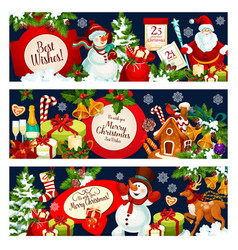 Merry christmas wish greeting banners vector