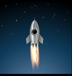Metal rocket soars vector