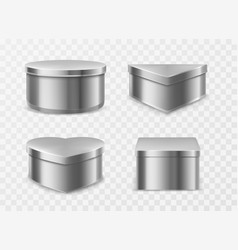 Metal tin boxes for coffee tea or candies vector