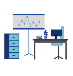 office workspace cabinet desk board computer plant vector image