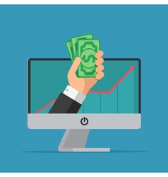 Online earning Hand with computer holds money vector