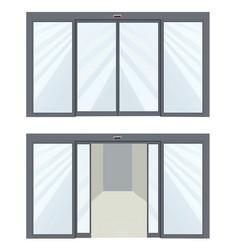 Open and closed sliding door vector