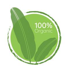 Organic 100 percent natural green leaf logo vector