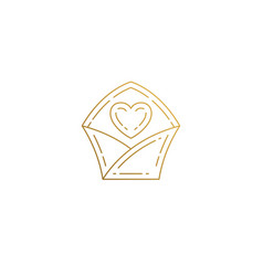 outline icon love letter hand drawn with thin vector image