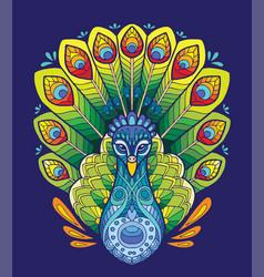 peacock coloring book anti-stress vector image