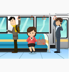 peoples using cell phones in a train vector image