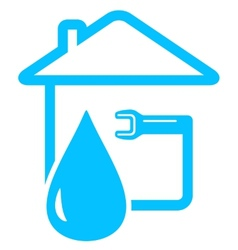Plumbing icon with drop of water and spanner vector