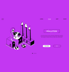 pollution - line design style isometric web banner vector image