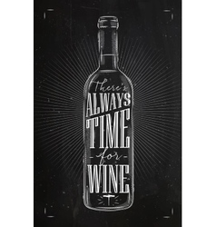Poster time for wine chalk vector