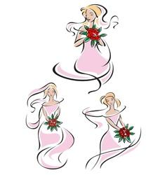 Pretty pink feminine sketches a bride vector