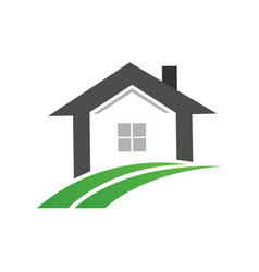 Real estate home and green road path icon vector