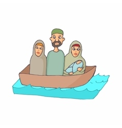 Refugees in a boat icon cartoon style vector image