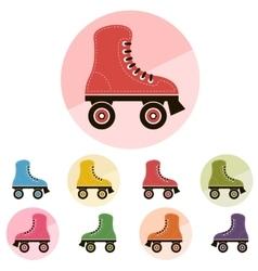 Roller skates icon set vector