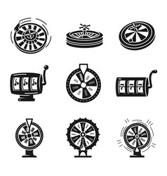 Roulette icons set simple style vector