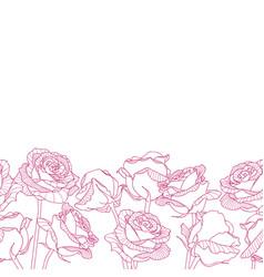 Seamless bottom border made of engraving rose vector
