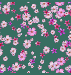 Seamless pattern with pink plumeria vector