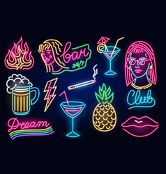 set fashion neon sign night light signboard vector image