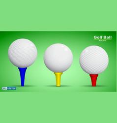 set of realistic golf ball on tee or golf ball vector image
