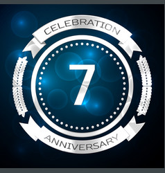 seven years anniversary celebration with silver vector image