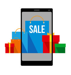 shopping bags and boxes on smartphone screen vector image