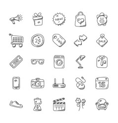 shopping doodles set vector image