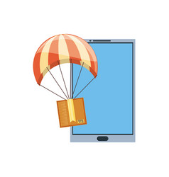 smartphone with carton box in parachute delivery vector image