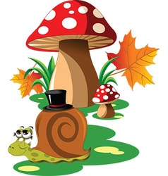 Snail mushroom cartoon vector image