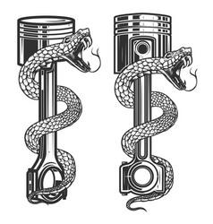 Snake on car piston design element for poster vector