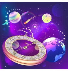 star background with clock and zodiac signs vector image