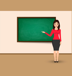 Teacher at blackboard with copy space showing vector