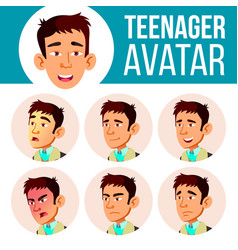 teen boy avatar set asian face emotions vector image