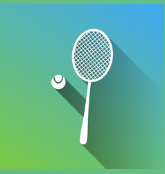 Tennis racquet with ball sign white icon with vector