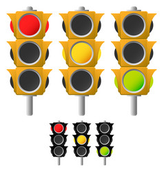 traffic lamps traffic lights set vector image