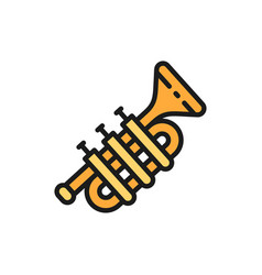 trombone trumpet tuba flat color line icon vector image