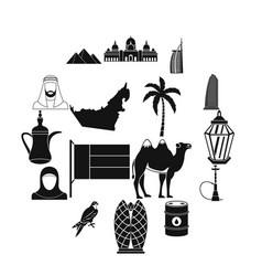 uae travel icons set simple style vector image