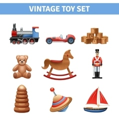Vintage Toy Icons Set vector image
