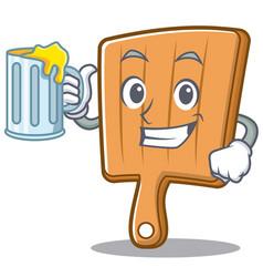 with juice kitchen board character cartoon vector image vector image