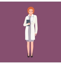 woman doctor in white lab coat researcher vector image