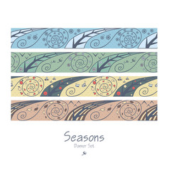 banners with four seasons vector image