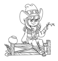 cute girl in a cowboy costume sits on a fence vector image vector image
