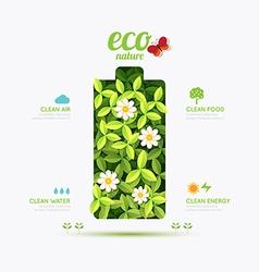 Ecology infographic battery symbol shape design vector image