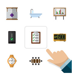 Flat icon oneday set of cellphone mattress vector