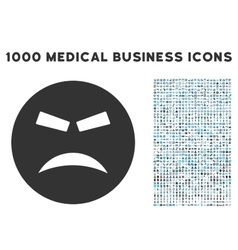 Furious Icon with 1000 Medical Business Symbols vector image vector image