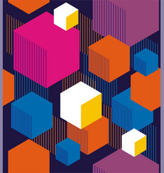 hexagons and cubes vector image