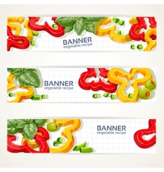 Horizontal banners with sweet peppers and basil vector