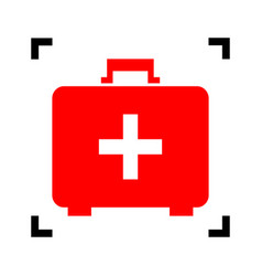 medical first aid box sign red icon vector image