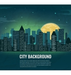 Night cityscape silhouettes with moon and space vector image