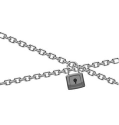padlock and steel chain finance security and vector image